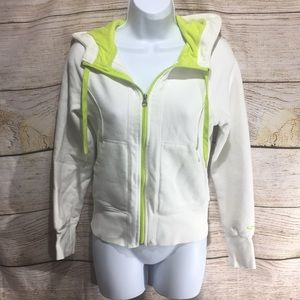 Champion Lime Green and Cream hoodie sweatshirt XS